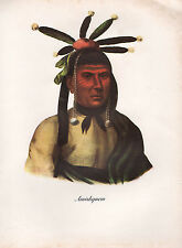 VINTAGE PRINT of 1830's NATIVE AMERICAN INDIAN ~ AMISKQUEW ~ MENOMINEE