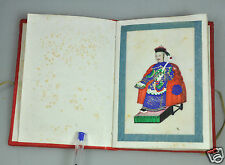 12 ANTIQUE CHINESE CHINA QING DYNASTY WATERCOLOR PAINTING PITH ALBUM 1850