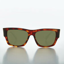 Big Square Thick Men's Tortoiseshell Vintage Sunglass with green lens -FREDDY