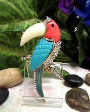 Vintage HATTIE CARNEGIE Rhinestone Toucan Bird Figural Pin Brooch -  MINT!