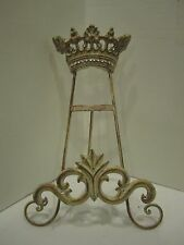 Rhinestone crown metal easel stand cookbook. photo frames Art Tuscan beige