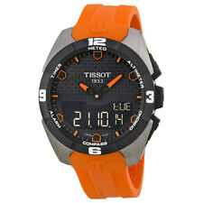 Tissot T-Touch Expert Solar Black Analog Digital Dial Orange Rubber Mens Watch