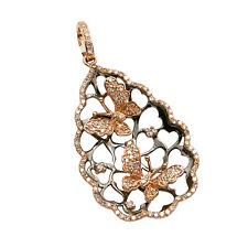 14K WHITE ROSE OR YELLOW GOLD PAVE DIAMOND BUTTERFLY TEARDROP PENDANT NECKLACE