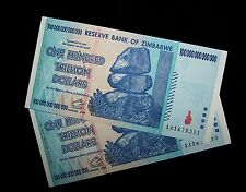 2 x Zimbabwe 100 Trillion Dollar banknotes- Circulated paper money currency