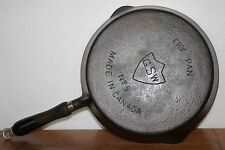 SCARCE 1930s 40s GSW No. 9 FRY PAN Wood Handle MADE IN CANADA Cast Iron Skillet