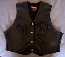 Easy Riders Black Leather Fringed Vintage Lined Vest Sz XL