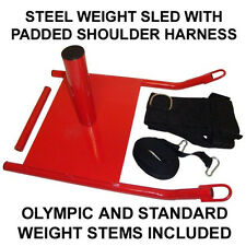 Red Steel Weight Sled and Speed Resistance Training Padded Shoulder Harness