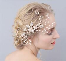 Gorgeous Bridal Pearl Hair Comb Crystal Flora Wedding Headpiece Hair Accessories