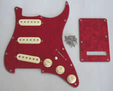 Strat SSS Pickguard Kit Red Pearl w/ Aged White Pickup Covers,Knobs,Switch Tip