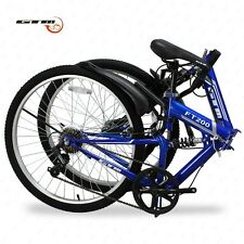 "26"" Folding Blue Mountain Bike 7 Speed Bicycle Shimano Hybrid Suspension Sports"