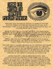 3rd Eye Ritual to Improve Psychic Powers, Book of Shadows Spell Page, Wicca