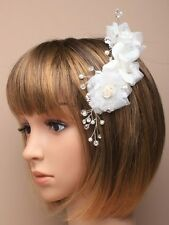 NEW White fabric flowers on a sliver comb hair accessory wedding festivals prom