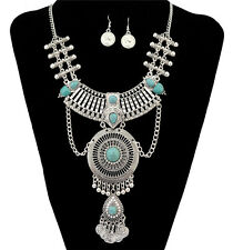 New Boho Vintage silver Plated Crystal Rhinestone Coins Tassels Necklace Gifts