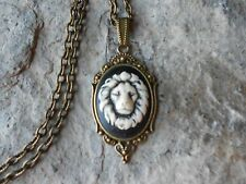 LION'S HEAD (HAND PAINTED) CAMEO NECKLACE!! LION HEAD, bronze, africa, lion