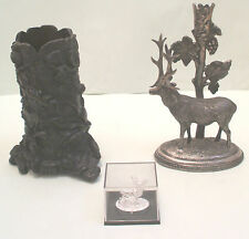 Bronze Tree Bark Decorated with Plant & Frog Silver Plated Stag Candle Holder