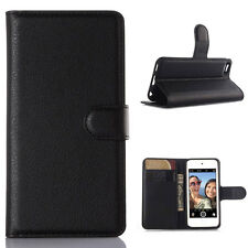 Litchi Wallet Stand PU Leather Flip Case Cover For iPod Touch 5 / Touch 6 Black