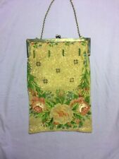 CHIC ANTIQUE VICTORIAN FLORAL BEADED PURSE STERLING SILVER FRAME