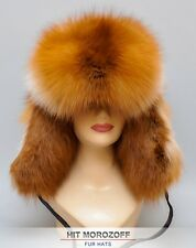Premium RED FOX Fur Hat Winter Ushanka Trooper Pelzmütze Fellmütze Fuchs Mütze