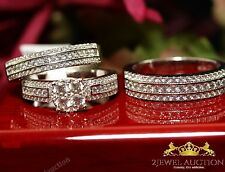 10K White Gold Diamond Bridal Engagement Ring His And Her Trio Wedding Band Set