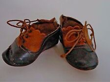 Wonderful Anitque Doll Shoes Marked 5 Two tone Tassel Cord ties