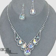 CLASSIC AURORA BOREALIS CLEAR CRYSTAL PROM WEDDING FORMAL NECKLACE JEWELRY SET