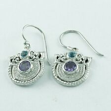 ANTIQUE DESIGN MULTI STONE 925 HANDMADE STERLING SILVER EARRINGS