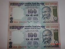 - INDIA PAPER MONEY - 2  'MG' NOTES - RS. 100/- YEAR 'NIL'-ONE SIGNATORY # E24ii