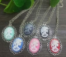 6pcs Vintage Beautiful Lady Head Cameo Pendant Necklaces,silver plated,hot n01