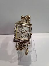 Guess Women's Gold Analog Watch W0417L2 Pearls Chain Glitz Bracelet New