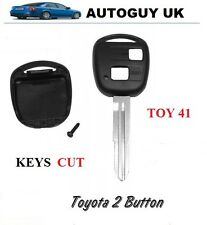 TOYOTA CAR KEY BLANK 2 BUTTON ( TOY 41) YARIS HILUX MR2 CUT TO CODE FREE CUTTING