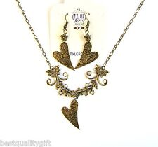 TYLER CODY DESIGN BRASS GOLD TONE FLORAL HEART PENDANT NECKLACE+EARRINGS-NEW+BOX