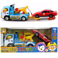 Pororo Tow truck + Car Toy Set Red Blue Animation Character Children's Kids Gift