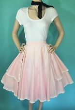 Vtg 50s PiNK White DOT dotted swiss Lace Western Pin Up CIRCLE Skirt S Waist 26