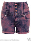 NEW HIGH WAIST SHORTS Ladies DENIM HIGH WAISTED HOTPANTS Coral Size 6 8 10 12 14
