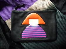 """Sonia Rykiel clutch textiles cuero negro, nuevo! de lujo """"must have"""" rara vez París!"""