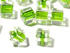Lot (24) 8mm Czech vtg faceted green lined crystal cube glass beads Swarovski