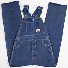 Round House Blue Denim Mens Carpenter Overalls Coveralls Bibs Sz. 28 x 32 EUC