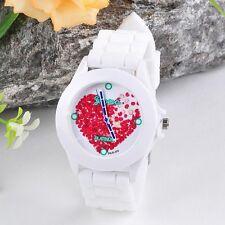 Women Fashion Watch Silicone Red Heart petals Quartz Analog Sports Wrist Watches