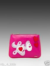 JUICY COUTURE JUICY in LOVE PINK heart LEATHER POUCH COSMETIC BAG NEW $48