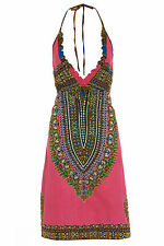 Women's bohemian pink hand beaded African print sequin dress Size 6 8 10 12