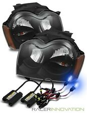 10000K Xenon HID/For 05-07 Grand Cherokee Black/Amber Crystal Headlights Lamps