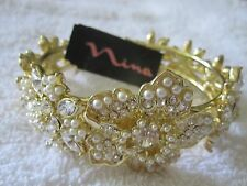 "NWT Gorgeous Nina 'Galax"" Faux Pearl and Crystal Hinged Gold Tone Bracelet-$140"