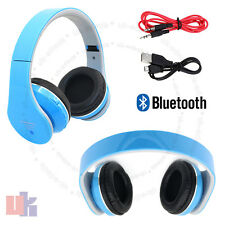 Foldable Wireless Bluetooth 4.2 Stereo Headphones Handsfree Blue with Cable UKED