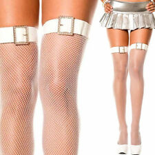 White Fishnet Stay Up Thigh-Highs Rhinestone Buckle Belt Costume Cosplay Tights