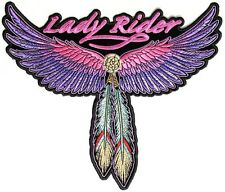 "(B19) LADY RIDER WINGS & FEATHER Tribal 5.5"" x 4.75"" iron on patch (3118)"