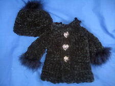 """HAND CROCHET DOLL JACKET DRESS COAT AND MATCHING HAT MADE FOR 18"""" DOLL."""
