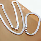 New fashion jewelry solid silver 6mm snake chain set necklace+bracelet gift HS49