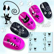 Nail Art Water Decals Stickers Transfers Lucky Black Cats Paw Print Stripes K241