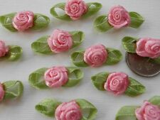 100! Satin Ribbon Roses With Leaves - Beautiful Pale Rose Pink Embellishments!