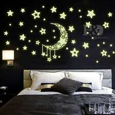 Star Moon Glowing Sticker FLUORESCENT TOYS Removable Vinyl Mural Room Decor DIY